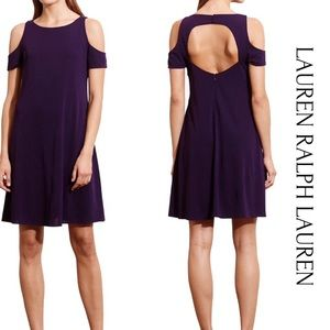 Lauren Ralph Lauren Purple Cold Shoulder Dress 14